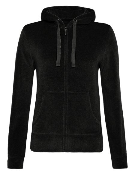 Cotton Rich Hooded Zip Through Velour Sweat Top