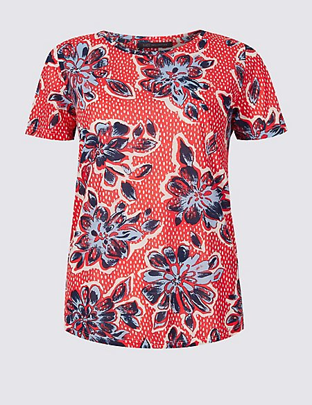 Floral Print Round Neck Short Sleeve T-Shirt