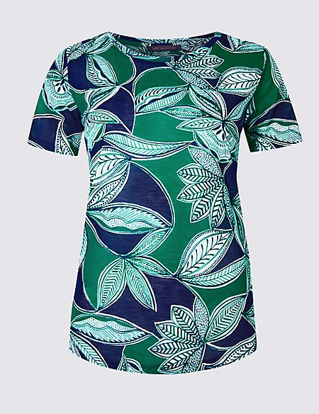 Leaf Print Round Neck Short Sleeve T-Shirt