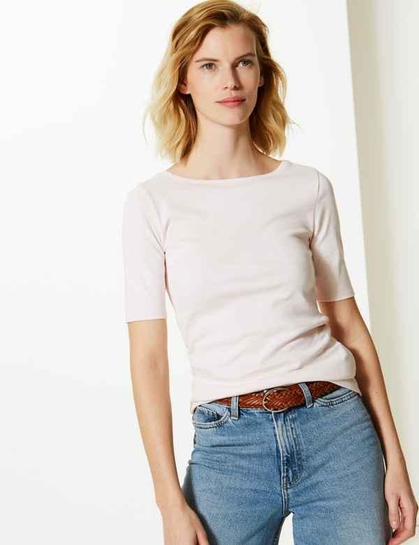 0d2d54cbd1b72 Pure Cotton Slash Neck Regular Fit T-Shirt. M S Collection