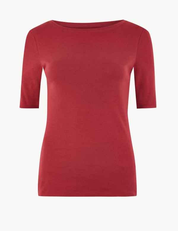 231be66a Pure Cotton Slash Neck Regular Fit T-Shirt