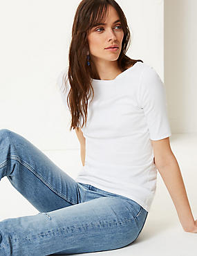 f0f85d8b593a3 Pure Cotton Slash Neck Regular Fit T-Shirt
