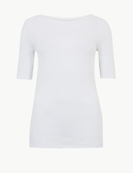 Pure Cotton Slash Neck Regular Fit T-Shirt