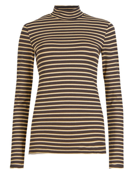 Heatgen™ Striped Polo Neck Top
