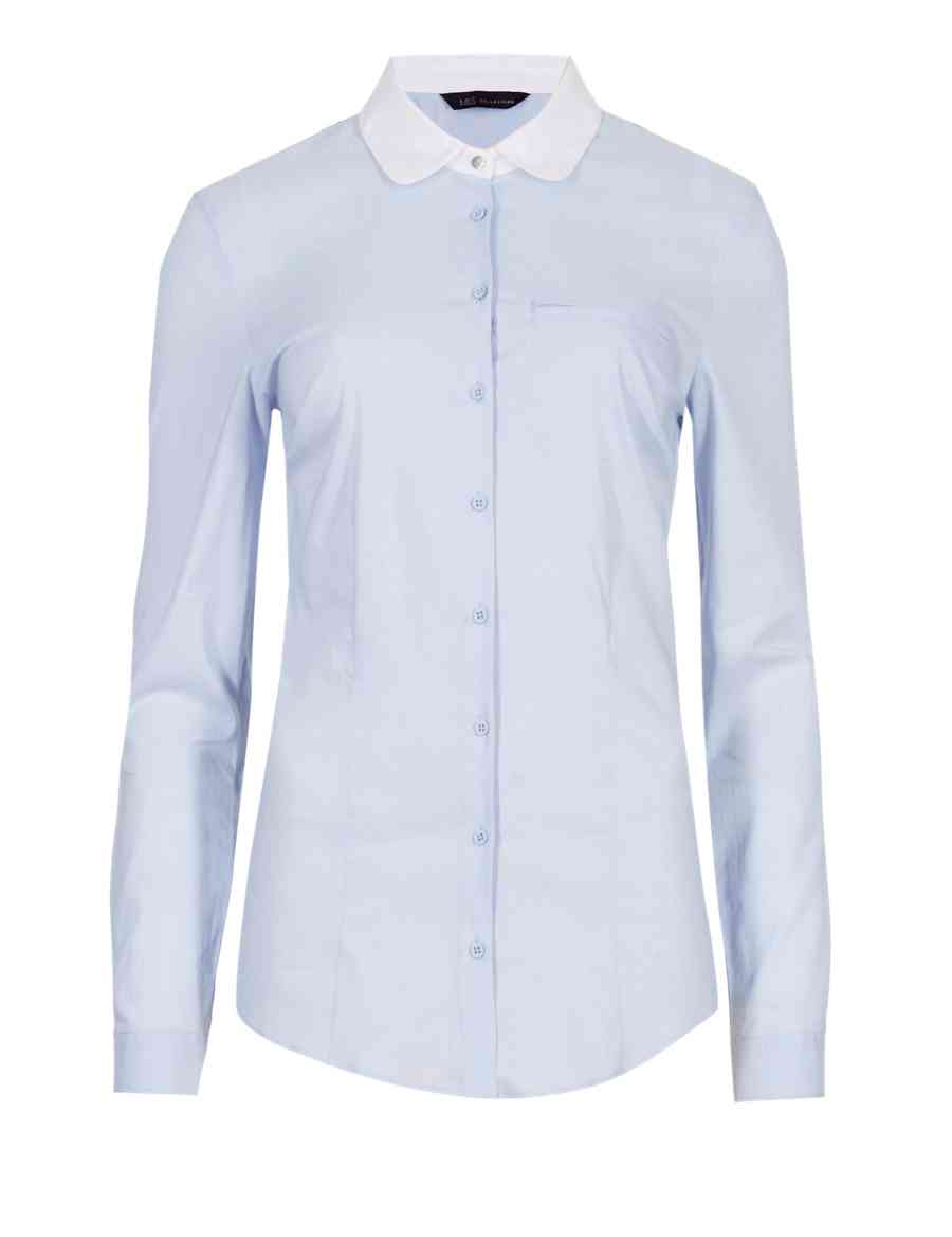 Peter Pan Collar Dobby Shirt Ms Collection Ms