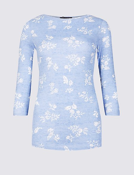 Pure Cotton Printed 3/4 Sleeve T-Shirt