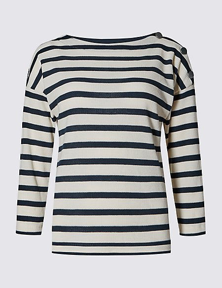 Cotton Blend 3/4 Sleeve Striped Top