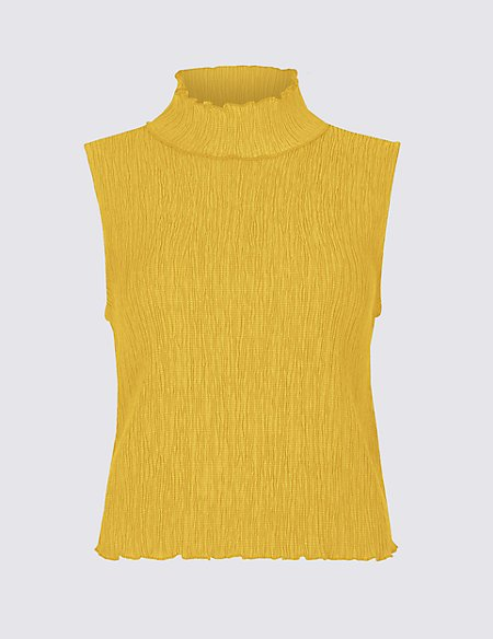 Textured Cropped Funnel Neck Shell Top