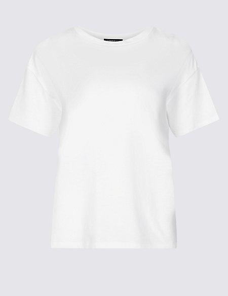 Cotton Blend Round Neck Short Sleeve T-Shirt