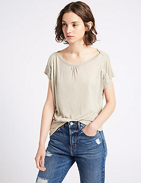 Shoulder Detail Round Neck Short Sleeve Top