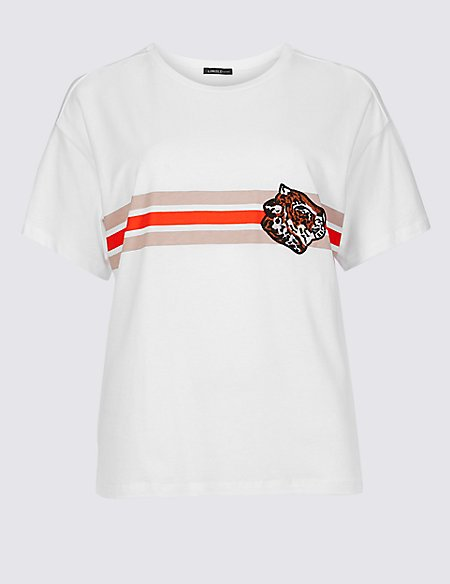 Cotton Blend Embroidered T-Shirt