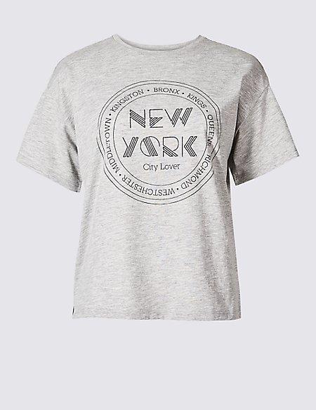 Cotton Blend Printed Short Sleeve T-Shirt