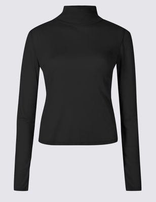 Funnel Neck Long Sleeve T Shirt by Marks & Spencer