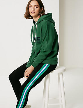 Cotton Rich Logo Printed Hooded Sweatshirt