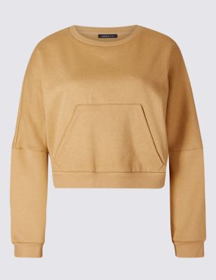 Cotton Rich Cropped Wide Sleeve Sweatshirt by Marks & Spencer