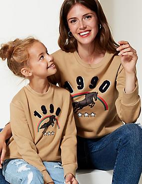 Cotton Rich Printed Long Sleeve Sweatshirt
