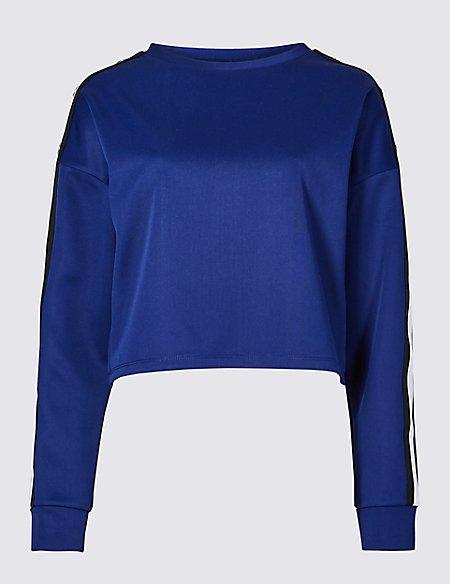Tipped Round Neck Long Sleeve Sweatshirt