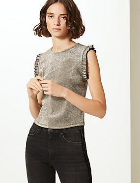 Sparkly Cropped Sleeveless Top