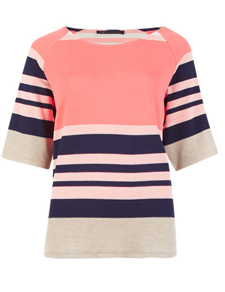 Striped Scoop Neck Half Sleeve Top
