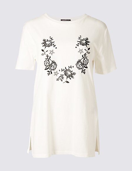 1c43f379 Product images. Skip Carousel. Pure Cotton Embroidered Longline T-Shirt