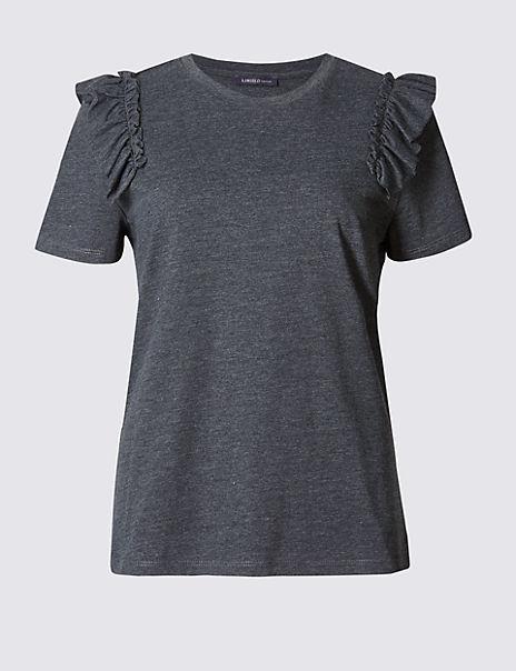Cotton Blend Ruffle Short Sleeve T-Shirt