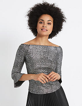 Sparkly Flared Sleeve Bardot Top