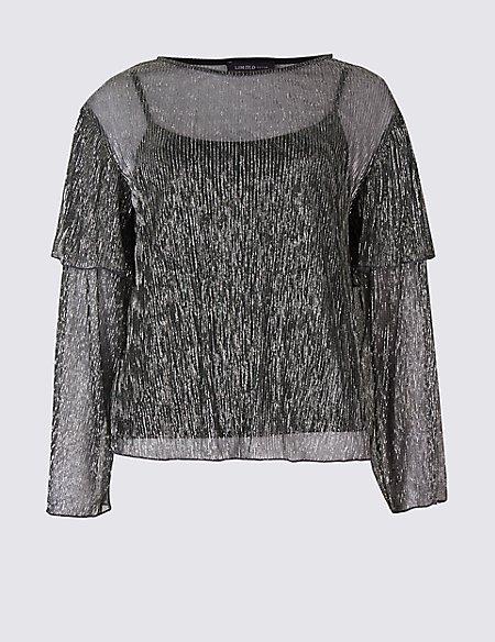 Textured Plisse Foil Long Sleeve T-Shirt