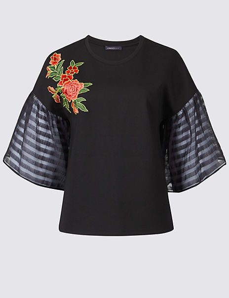 Embroidered Applique Half Sleeve T-Shirt
