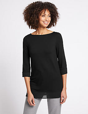 Crepe Hem Slash Neck Longline Tunic