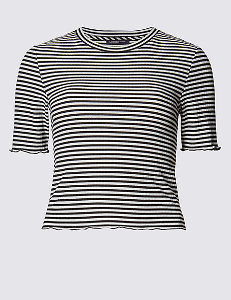 Frilled Cuff Striped T-Shirt