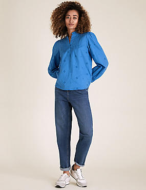 Pure Cotton Broderie Long Sleeve Blouse