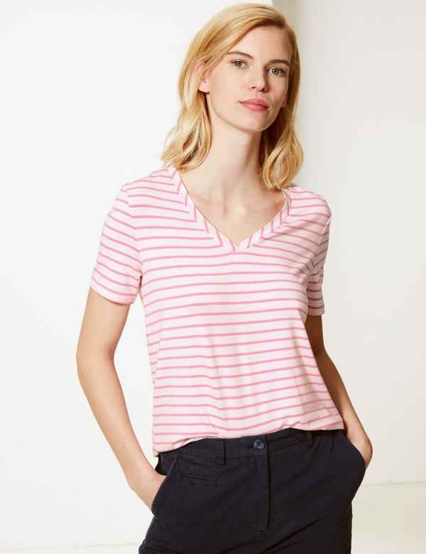 f2ac846c1dbbc Striped V-Neck Short Sleeve T-Shirt