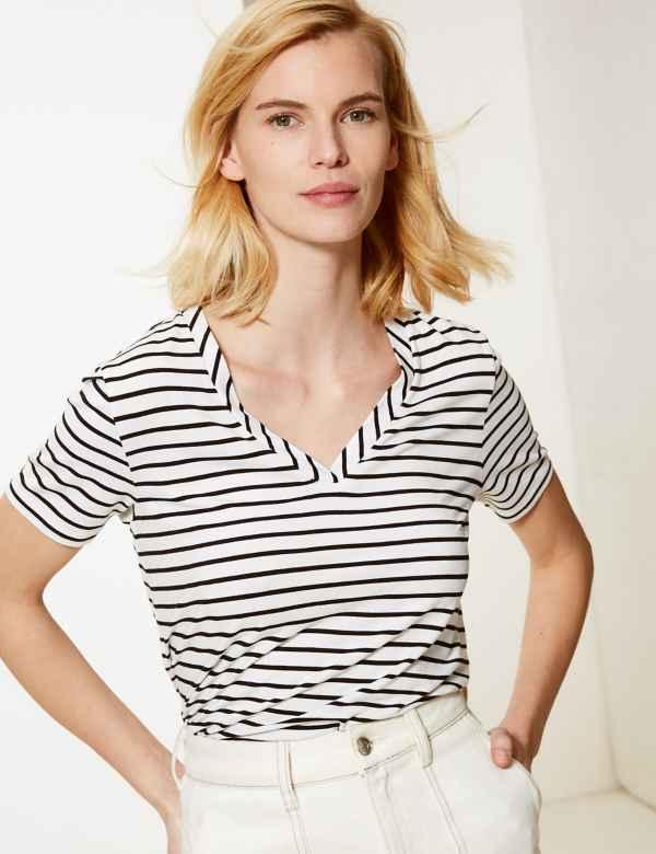 f3736984453a Striped V-Neck Short Sleeve T-Shirt