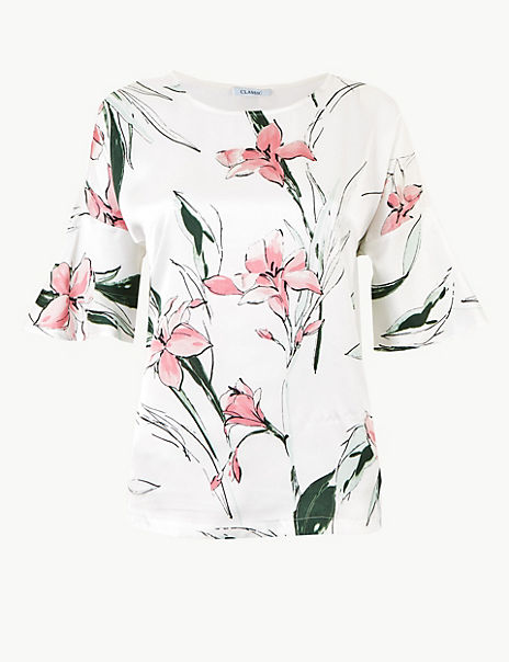 Floral Print Round Neck Relaxed Fit Blouse