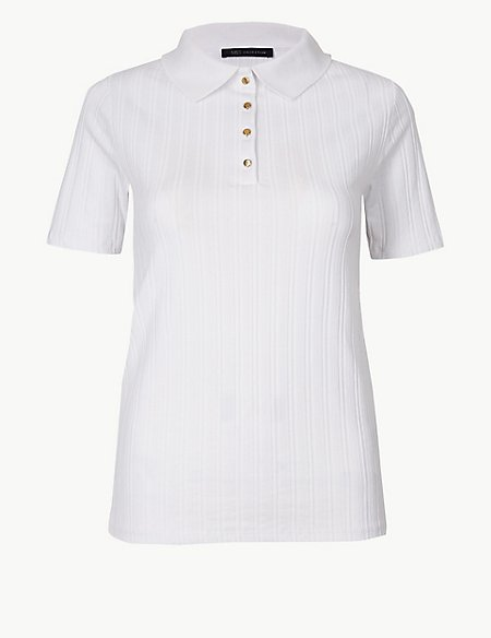 Textured Short Sleeve Polo Shirt