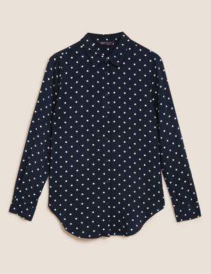 Polka Dot Longline Long Sleeve Shirt