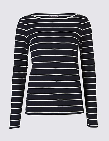 Cotton Blend Striped Slash Neck Rib T-Shirt