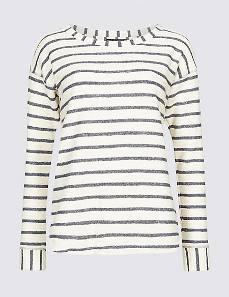 Cotton Rich Striped Long Sleeve Sweatshirt