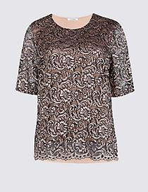 Lace Front Round Neck Half Sleeve T-Shirt