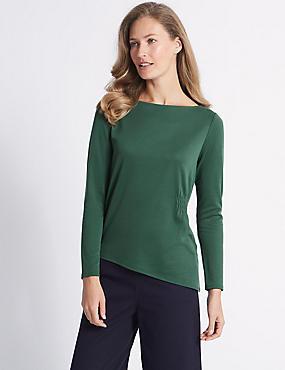 Modal Rich Asymmetric Long Sleeve T-Shirt