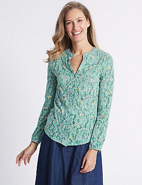 Cotton Rich Floral Print Long Sleeve Shirt