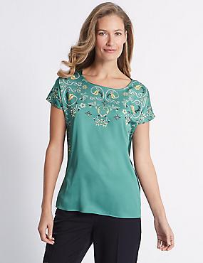 Printed Satin Short Sleeve T-Shirt