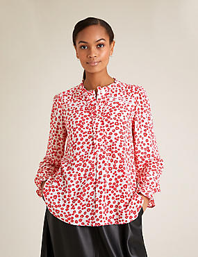 Ditsy Floral Frill Long Sleeve Blouse