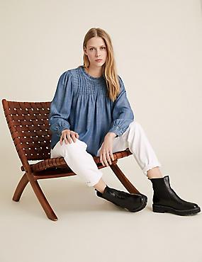 Pure Tencel™ Pintuck Long Sleeve Blouse