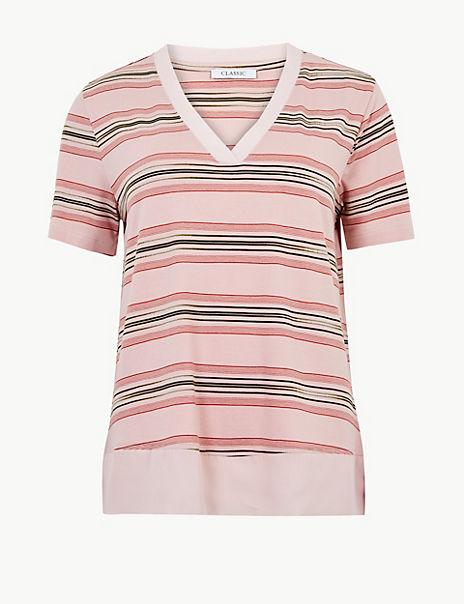 Striped V-Neck Regular Fit T-Shirt