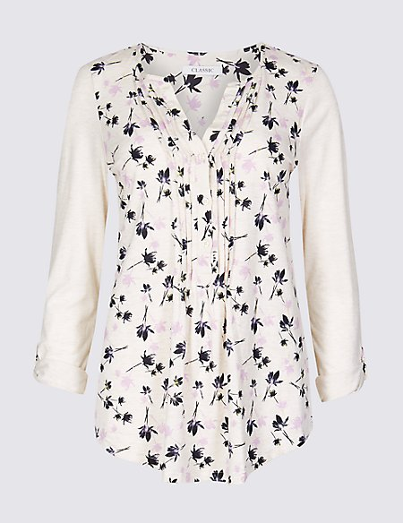 Cotton Rich Floral Print Long Sleeve Top