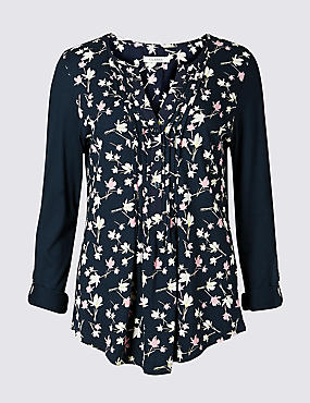 Cotton Rich Floral Print Long Sleeve Top