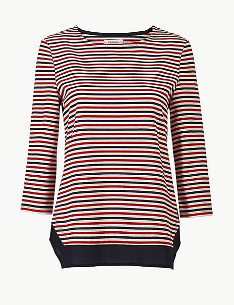 Striped Regular Fit 3/4 Sleeve Tunic