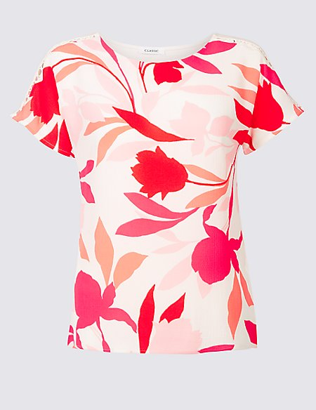 Floral Print Round Neck Short Sleeve Top