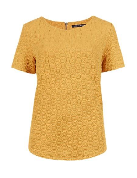 Short Sleeve Textured Top